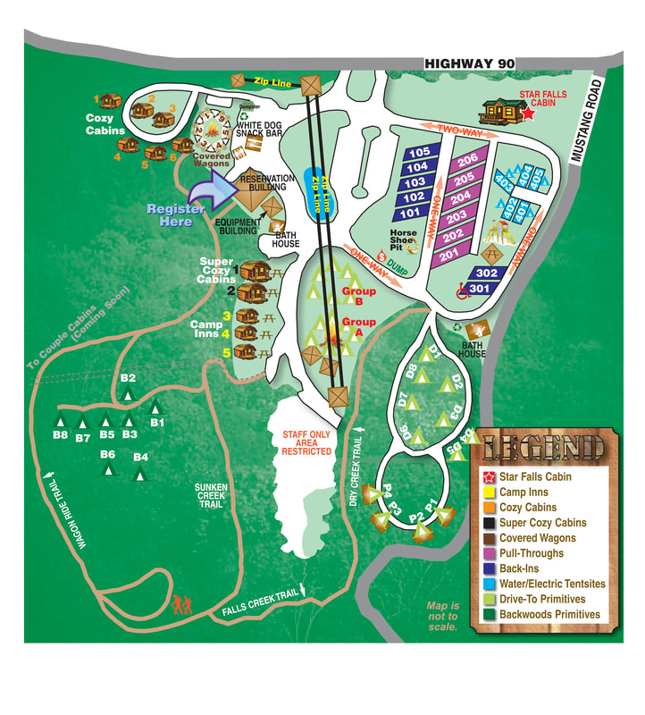Falls Creek Cabins and Campground Map