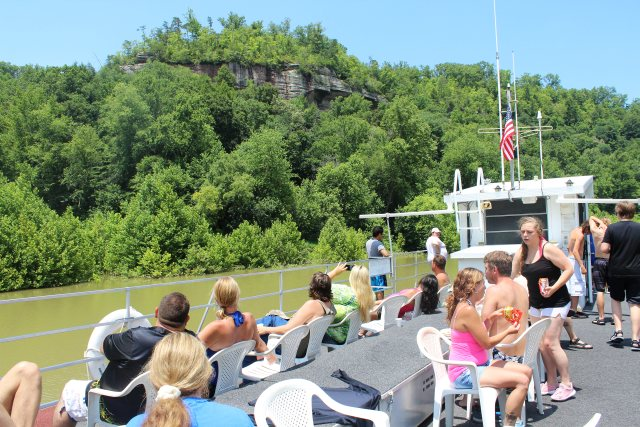 People on the open top deck of the Cumberland Star Riverboat